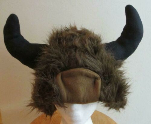 funky MOOSE HAT antlers viking buffalo horns furry fuzzy head cap toque costume