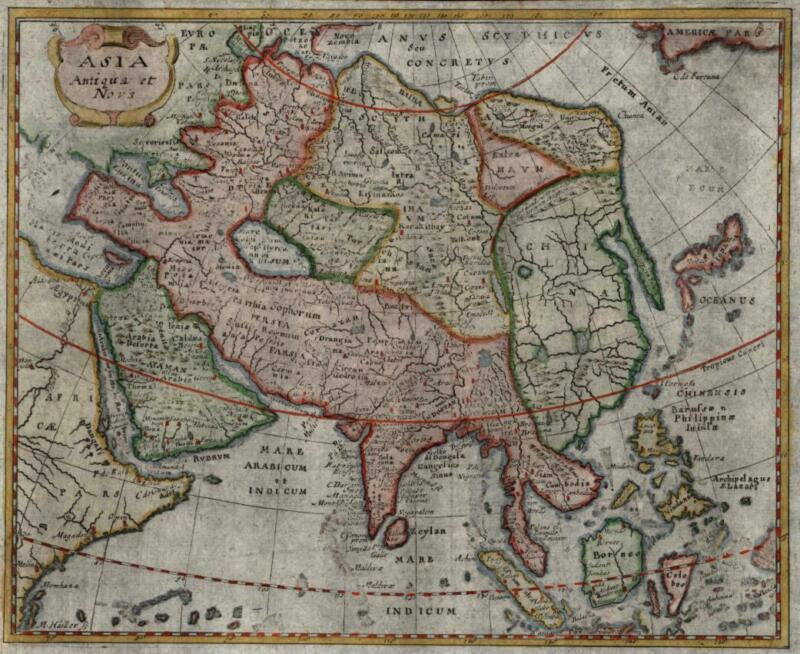 Arabia India China Chinese Empire Korea Southeast Asia 1694 Mosting rare map