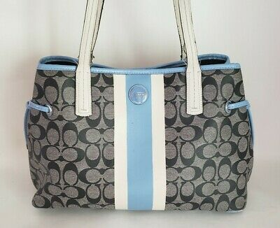Coach Blue/White Stripe Satchel Handbag Purse- Black Gray