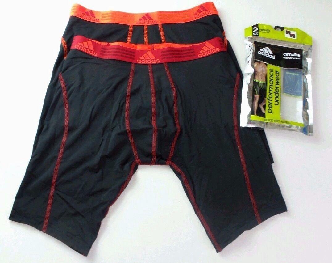 "Adidas Men's Boxer Briefs 2 Pack M Black 9"" Midway Long Athl"