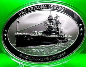 USS ARIZONA OVAL COMMEMORATIVE COIN PROOF MILITARY
