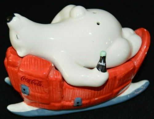Coca Cola Polar Bear and Sleigh Stackable Salt and Pepper Shakers