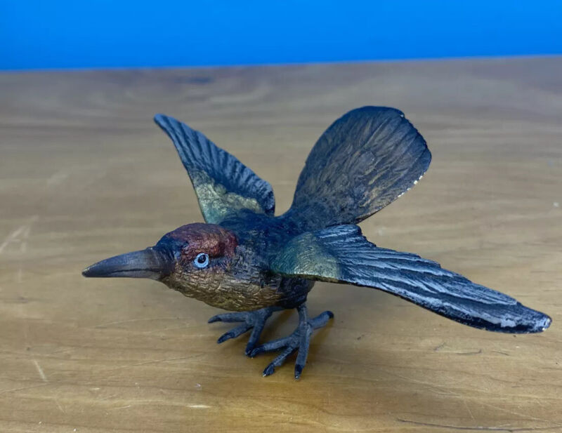 Exotic Antique 1900s Austrian Vienna Cold Painted Bronze Hummingbird