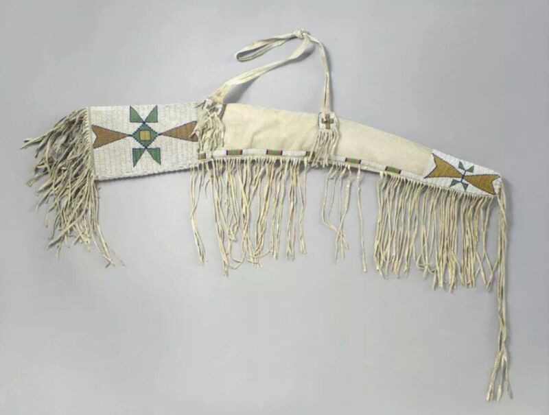 Native American Indian Beaded Rifle Scabbard Sioux Style Suede Leather