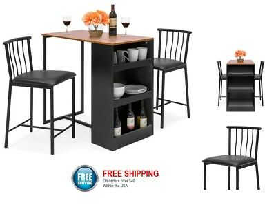 Bistro Bar Pub Set Counter Height Table Stools Kitchen Island Dining Chairs 3pc