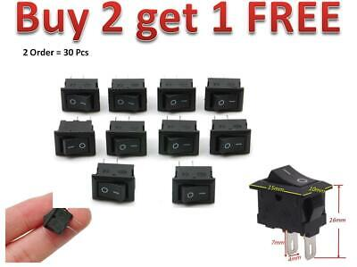 10x Rocker Switch Switches 2-pin Black Onoff Small Mini 3a 12v-250v Acdc