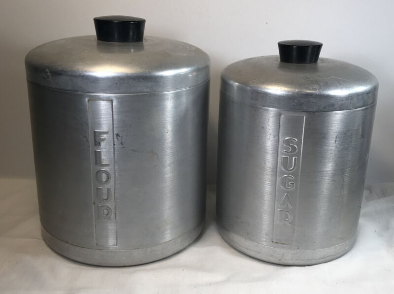 Vintage Brushed Aluminum Canisters Flour And Sugar 1950s 2 Piece Set Replacement