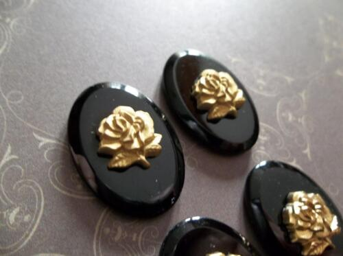 Gold Rose on Jet Black Glass Cameo 25X18mm Cabochons From Germany - Qty 1
