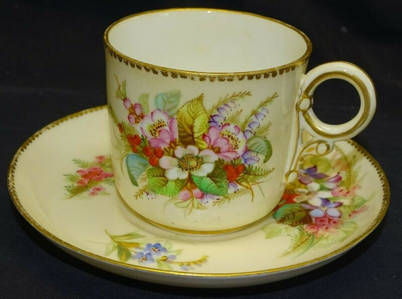 Early Royal Worcester England Hand Painted Cup & Saucer Floral
