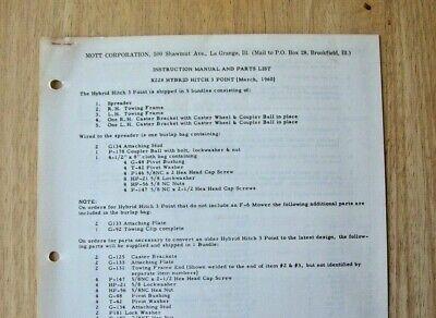 Mott Hammer Knife Mower X-228 Hybrid Hitch 3 Point Instruction Parts Manual 1960