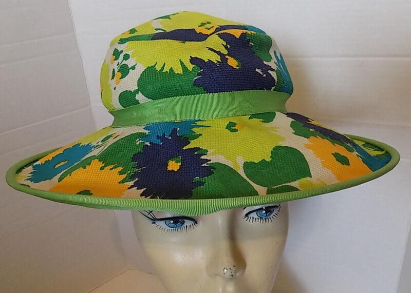 Vintage Mod Fabric Blue Green Orange Floppy Wide Brimmed Hat