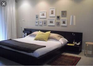 Double bed frame with attach side tables