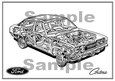 MK3 Ford Cortina Poster - Haynes Drawing  classic car wall Art  MKIII