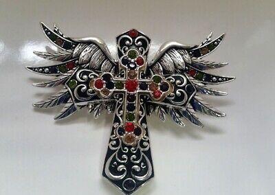 Silver-tone Black Crystal Metal Winged CROSS Magnetic Large Pendant Z9in-4/22