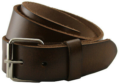 (Seris Genuine Leather Casual Belt w/ Roller Buckle Black Brown Tan White 1-1/2