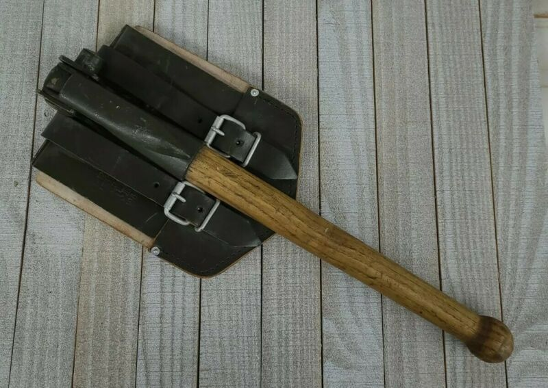 1964 German Army Folding Shovel Pick with Sheath Green Collector Tool Vintage
