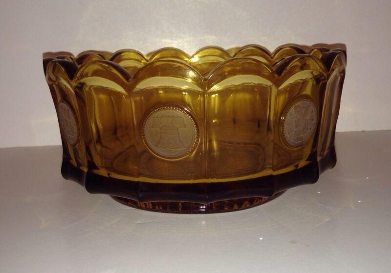 "Vintage Fostoria Amber Coin Glass Bowl – 7 ½"""