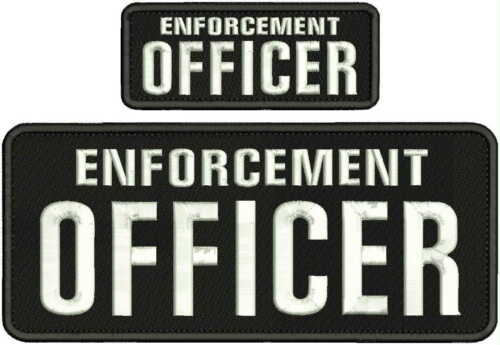 enforcement officer embroidery patches 4x10 and 2X5   hook  on back white letter