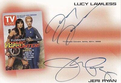 Tv Guide Signed Lucy Lawless Autograph Card Jeri Ryan 7 9 Xena Tva3 Star Trek