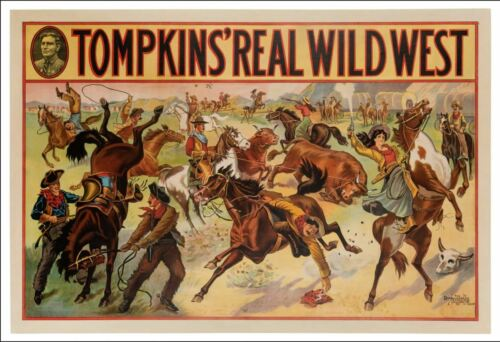 Vintage Tompkins Real Wild West Show Donaldson Litho Cowboys & Girls Horses