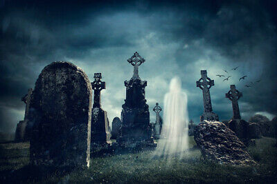 Halloween Background Ghost (Halloween Graveyard Backdrop Spooky Ghost Background Photography Vinyl)