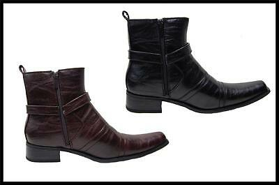 New Men's Bonafini Italian Style Dress Boots With Zipper Brown,Black  D700