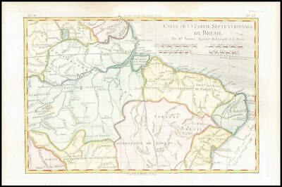 1780 Antique Map BRAZIL Carte Partie Septentrionale Du Bresil Bonne (BMii/6)