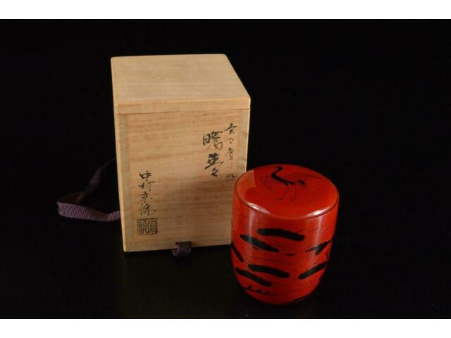 P6684: Japan Wooden Lacquer ware TEA CADDY Chaire Container, auto w/signed box