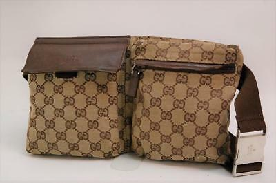 Auth Gucci GG Canvas Monogram Waist Belt Bum Bag Fanny Pack Brown 706a