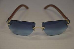 cartier c decor 135b sunglasses rimless frame france blue brown marble wood