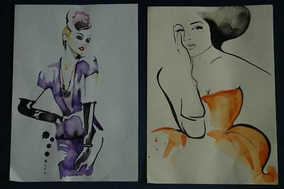 Pair of Beautiful Original Watercolor of 1940's or 1950's Fashion Drawings