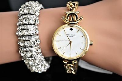 NEW Kate Spade new york Holland Gold Tone Stainless Steel Bracelet Watch KSW1140