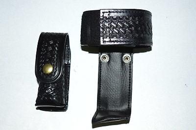Law Pro - Leather Holder For Police Radio And Spray Holder. Basket Weave Desi