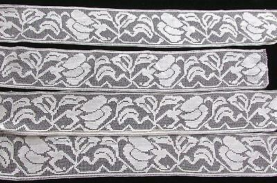 3 Yards Antique Italian Hand Knotted Cotton Lace Insert Trim Filet Flowers