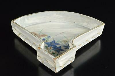 P6706: Japan Kiyomizu-ware Sensu-shaped Kashiki DESSERT BOWL/dish Tea Ceremony
