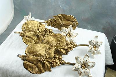 2 Pair Antique Victorian Bronze Repousse Curtain Tie Backs Porcelain Flowers