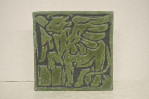 Antique Grueby  Green Pegasus or Winged Bull Tile ( Possibly Symbol of St. Luke)