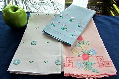 Lot 3 Vintage Pink Blue Linen  Hand Embroidered Flowers Cottage Guest Towels