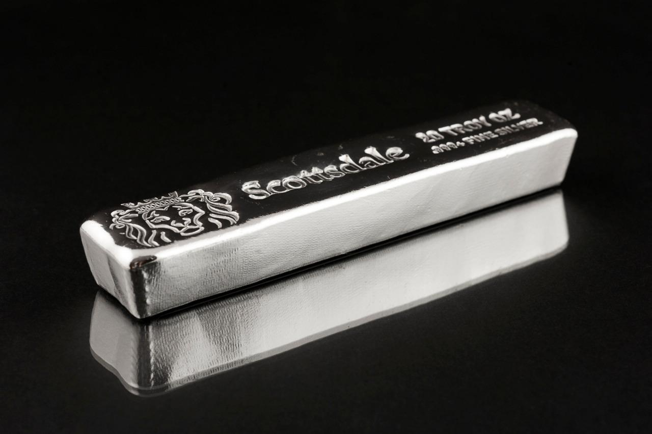 20 oz .999 Silver Bullion Long Cast Bar by Scottsdale Mint #A397