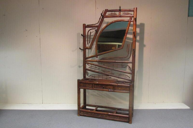 Very Unusual Vintage Bamboo Hall Rack, Umbrella Stand w/Mirror