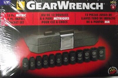 "Gearwrench 84930 12 Piece 1/2"" Drive 6 Point Metric Impact Socket Set"