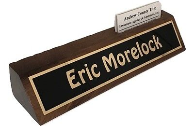 Personalized Desk Name Plate 10 Walnut Holds Business Cards - Engraved Free