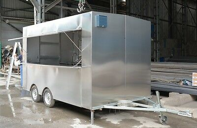 3.5m Stainless Steel Concession Stand Trailer Kitchen 3 Fryers Shipped By Sea