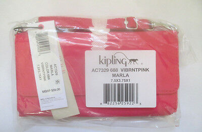 Women's Kipling Marla Crossbody Clutch Vibrant Pink AC7329 New