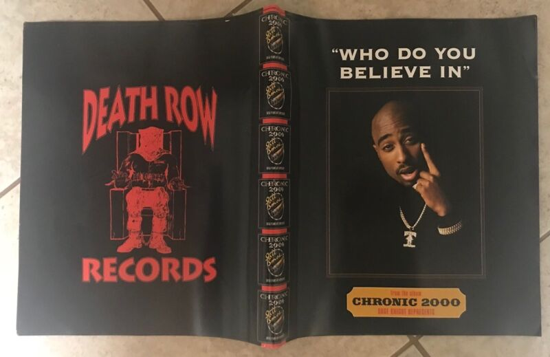 """2Pac Shakur Vintage Poster """"Who Do You Believe In"""" Chronic Death Row Suge Knight"""