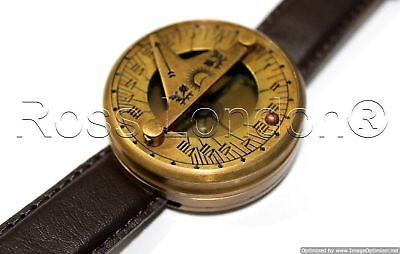 Antique Wrist Watch Type Brass Sundial Compass Marine Working Antique Style