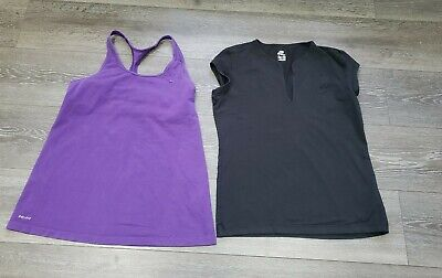 2 X Womens NIKE training Tops Vest With Bra And Tshirt Size XL Fits 14 bundle