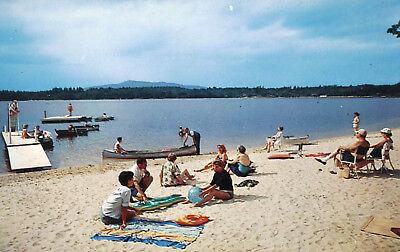 Beach Scene Comtoocook Lake Postcard New Hampshire Canoe Boats Woodbound Inn