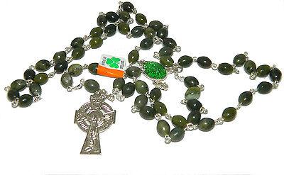 Rosary Beads Connemara Marble J C Walsh Irish Green Oval Made in Ireland 8042