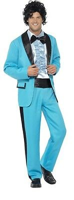 Mens 1980s 80s Prom King Blue Suit Tv Film Tuxedo Fancy Dress Costume Outfit](80s Prom Costume Men)